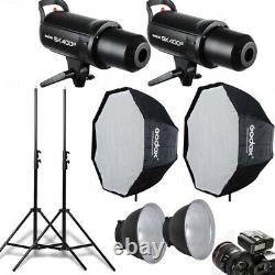 2Pcs Godox SK400II 400W Studio Flash Strobe Light + Softbox + Trigger +Stand Set
