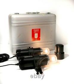 2x Profoto ComPact Plus 300 Pro Strobe heads (90-260V) in a Silver Halliburton C