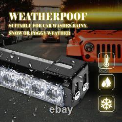 35 32 LED Amber&White Traffic Advisor Emergency Hazard Warning Strobe Light Bar
