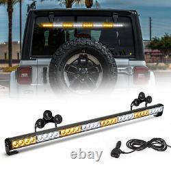 36 13 Modes Traffic Advisor Emergency Warning Strobe Light Bar Kit(White&Amber)