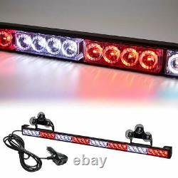 36 13 Modes Traffic Advisor Emergency Warning Strobe Light Bar Kit (White&Red)