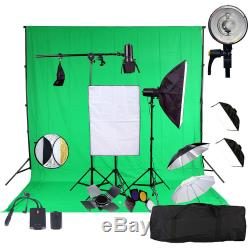 3x150w Flash Strobe Kit Photography Studio Flash Lighting Softbox W Backdrop Pro