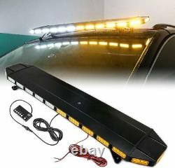 48 Roof Top Emergency Light Bar Warning Amber White LED Tow Truck Vehicle Black