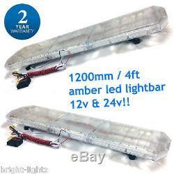 5 x 1200MM 120CM 48 LED AMBER LIGHT BAR STROBE BEACON RECOVERY VEHICLE FLASHING