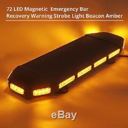 72 LED Amber Warning Strobe Light Recovery 12/24V Flashing Magnetic Beacon Light