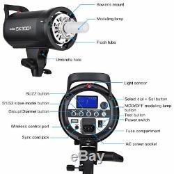 900W 3 Godox SK300II Studio Strobe Flash Light Head +Trigger+Grid Softbox Kit
