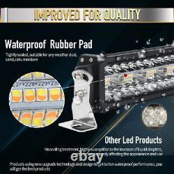 9D Tri-Row 50 2800W Curved LED Light Bar Spot Flood Amber&White Strobe Flash 52
