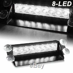 Car 8-LED Xenon White Police Strobe Flash Light Dash Emergency Flashing Light