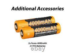 Fenix LR35R 10000 Lumen Long Throw Rechargeable LED Flashlight with 4x Batteries