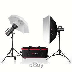 GS400II Cool Bowens S Fit Studio Strobe Flash Kit Baby School Portrait Fashion