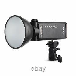 Godox AD200 2.4G HSS TTL Flash Standard Reflector AD-S2+S11 +BD-07 Barn Door Kit