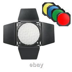 Godox SK400II 2.4G Studio Strobe Head Flash BD-04 Barndoor Honeycombe Color gel