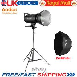 Godox SK400II 400W 2.4G Studio Flash Strobe Light +95cm Grid Softbox 2m Stand UK