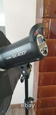 PAIR OF GODOX SK400ii STUDIO FLASH STROBES LIGHTS WITH STANDS AND SOFTBOXES