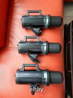 PRO STUDIO LIGHTING KIT Pixapro lumi GS400 Studio Strobe 3X Flash Lighting Kit
