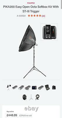 Pika200/ad200 Flash Strobe Easy Open Softbox Kit With Trigger, Battery Powered