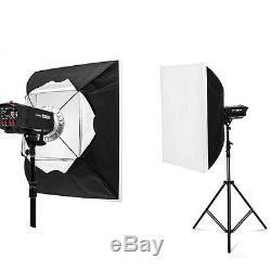 Pro 1200W Photo Studio Flash Lighting Kit Strobe Head Softbox 2x 600W Set
