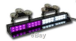 Purple White Visor Light bar Deck Dash LED Funeral Emergency Flashing Strobe
