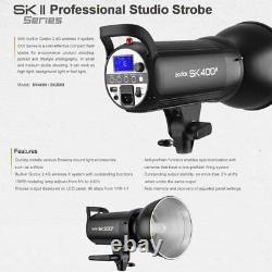 UK 1200w 3 Godox SK400II 400W 2.4G Studio Flash Strobe Light Head Wedding Kit
