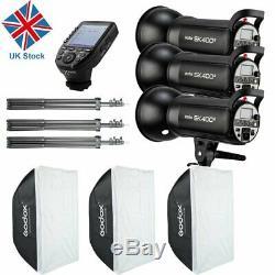UK 1200w 3x Godox SK400II 400W 2.4G X Studio Flash Strobe Light Head +Xpro-C