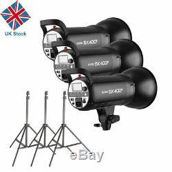 UK 1200w 3x Godox SK400II 400W 2.4G X Studio Flash Strobe Light Head f Wedding