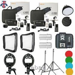 UK 2Godox 2.4 TTL HSS AD200 Flash+X1T-C Trigger+4040 Softbox+Light Stand Kit