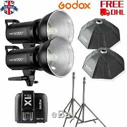 UK 2Godox SK300II 300W 2.4G Flash Strobe+X1C for Canon+softbox light stand Kit