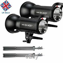 UK 400w 2x Godox SK400II 400W 2.4G X Studio Flash Strobe Light Head f Wedding