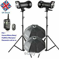 UK 800w 2x Godox SK400II 400W 2.4G Studio Flash Strobe Light Head +95cm Softbox