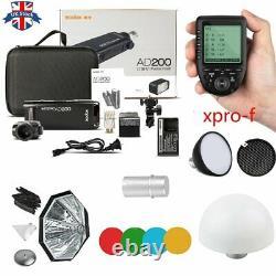 UK Godox 2.4 TTL HSS AD200 Flash+AD-S2+AD-S11+AD-S7+Xpro-F Trigger for Fuji