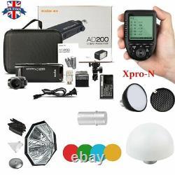 UK Godox 2.4 TTL HSS AD200 Flash+AD-S2+AD-S11+AD-S7+Xpro-N Trigger for Nikon Kit