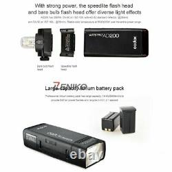 UK Godox 2.4 TTL HSS Two Heads AD200 Flash+X1T-N For Nikon+Softbox Diffuser Kit