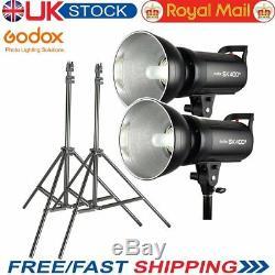 UK Godox 2xSK400II 2.4G X System Studio Strobe Flash Light 400Ws+2m Light Stands