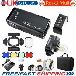 UK Godox AD200 Pocket Flash Light 2.4G Wireless X System+Barn Door+Color Filter