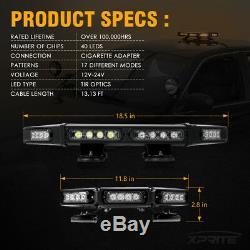 Xprite 18 Amber 40LED Roof Top Strobe Light Bar Law Enforcement Flashing Beacon