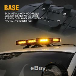 Xprite 18 Professional LED Stealth Low Profile Roof Top Strobe Light Bar Amber
