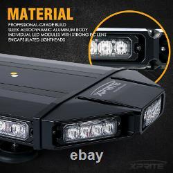 Xprite 18inch Car Rooftop 40 LED Strobe Light Bar Emergency Warning White Amber