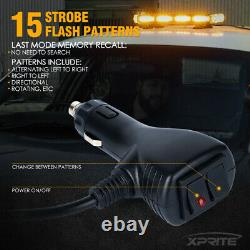 Xprite 21 LED Rooftop Strobe Light Bar Traffic Advisor YellowithAmber Heavy Duty