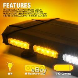 Xprite 27 Black Hawk LED Law Enforcement Top Roof Strobe Light Bar Amber White