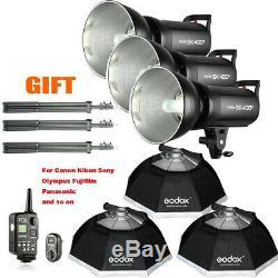 1200w 3x Godox De Sk400ii Studio Strobe Flash Light + Softbox Kit F Mariage