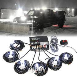 120w 6 Ampoules Led Hid White Hide-a-way Emergency Warning Strobe Light System Kit