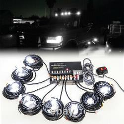 160w 8 Ampoules Led Hid White Hide-a-way Emergency Warning Strobe Light System Kit