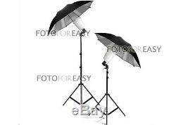 2x A45s Photography Studio Flash Stroboscopique Ampoule Avec Umbrella Kit D'éclairage Stand