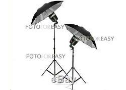 2x Sy3000 Photo Studio Flash Stroboscopique Ampoule With33 Éclairage Umbrella Kit Stand