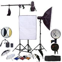 3x Stroboscope 150w Kit D'éclairage Softbox Pro Parapluie Réflecteur Gel Barndoor