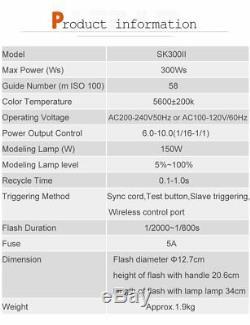 600w Uk Godox 2x Sk300ii 300w 2.4 Studio Flash Stroboscopique Lumière Head Trigger Softbox
