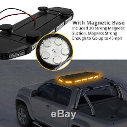 72 Led Orange Avertissement Stroboscope De Récupération 12 / 24v Clignotant Magnétique Beacon Light