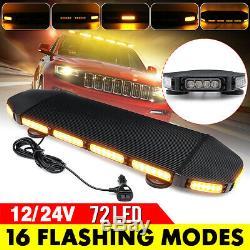 72 Led Toit Strobe Light Bar 12 / 24v Aimant D'avertissement D'urgence Balise Lampe Flash