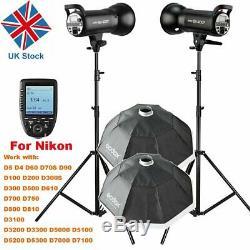 800w Godox 2x Studio De Sk400ii Strobe Photo De Mariage Flash Light F Nikon Uk