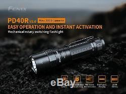 Fenix pd40r V2 Usb 3000-c Lumen Rechargeable Led Lampe De Poche + 2x 5000mah Batterie